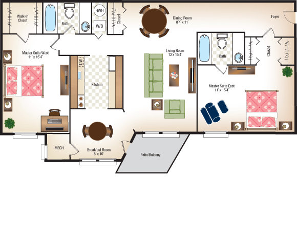 Deluxe Two Bedroom, Two Bathroom