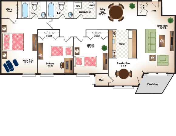 Three Bedroom, Three Bathroom